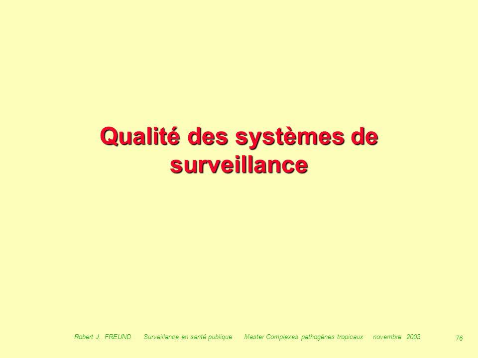 75 Robert J. FREUND Surveillance en santé publique Master Complexes pathogènes tropicaux novembre 2003 La surveillance dans le monde - Les CDCLes CDC