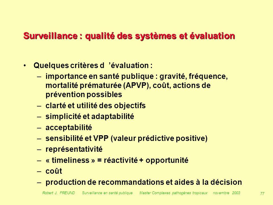 76 Robert J. FREUND Surveillance en santé publique Master Complexes pathogènes tropicaux novembre 2003 Qualité des systèmes de surveillance