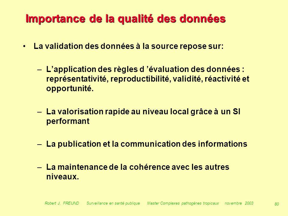 79 Robert J. FREUND Surveillance en santé publique Master Complexes pathogènes tropicaux novembre 2003 Importance de la qualité des données Comme dans