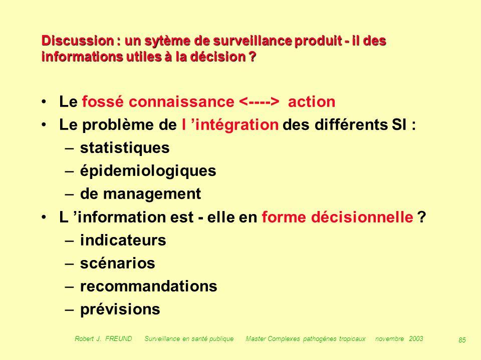 84 Robert J. FREUND Surveillance en santé publique Master Complexes pathogènes tropicaux novembre 2003 Les systèmes de surveillance en santé publique