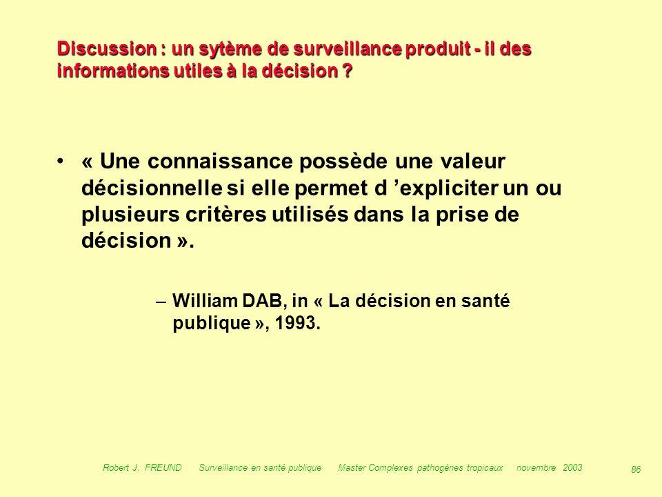 85 Robert J. FREUND Surveillance en santé publique Master Complexes pathogènes tropicaux novembre 2003 Discussion : un sytème de surveillance produit