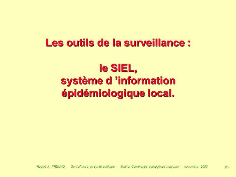 94 Robert J. FREUND Surveillance en santé publique Master Complexes pathogènes tropicaux novembre 2003 2 exemples très « décisionnels » : L 'enjeu de