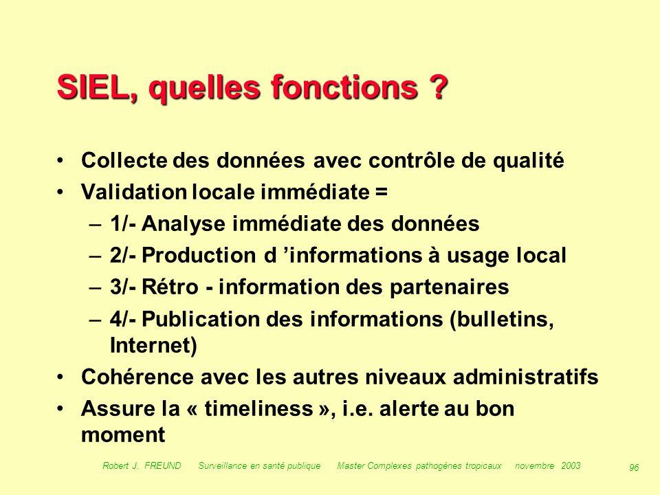 95 Robert J. FREUND Surveillance en santé publique Master Complexes pathogènes tropicaux novembre 2003 Les outils de la surveillance : le SIEL, systèm
