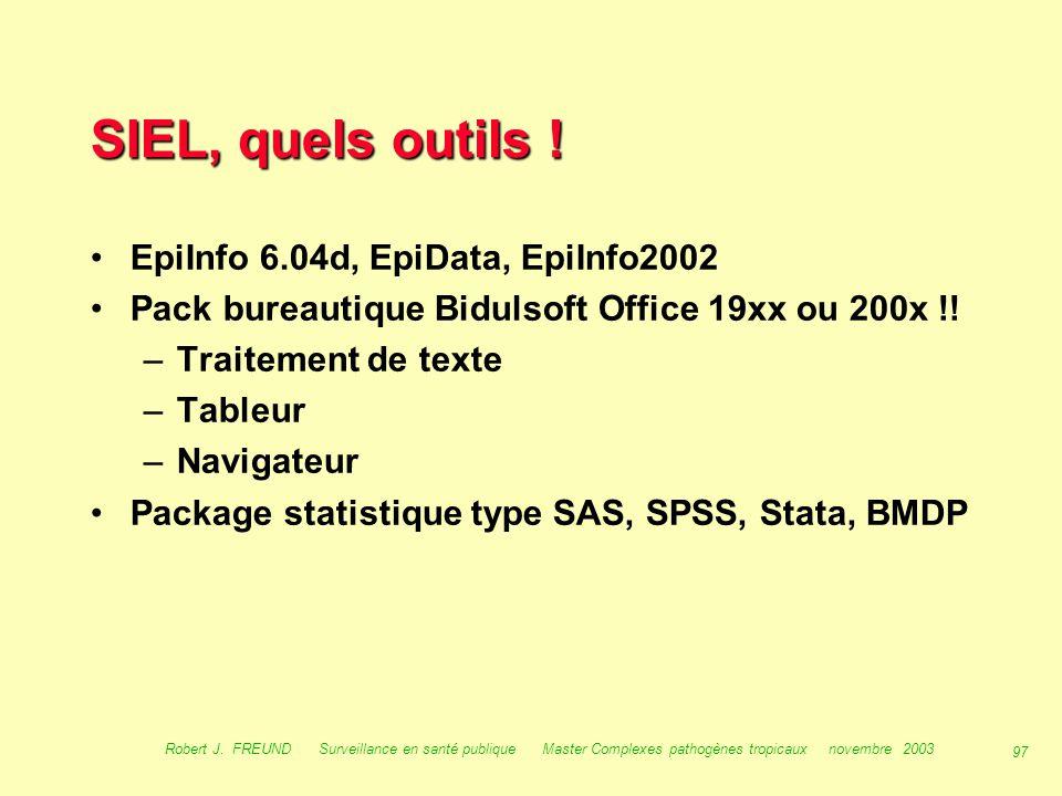 96 Robert J. FREUND Surveillance en santé publique Master Complexes pathogènes tropicaux novembre 2003 SIEL, quelles fonctions ? Collecte des données