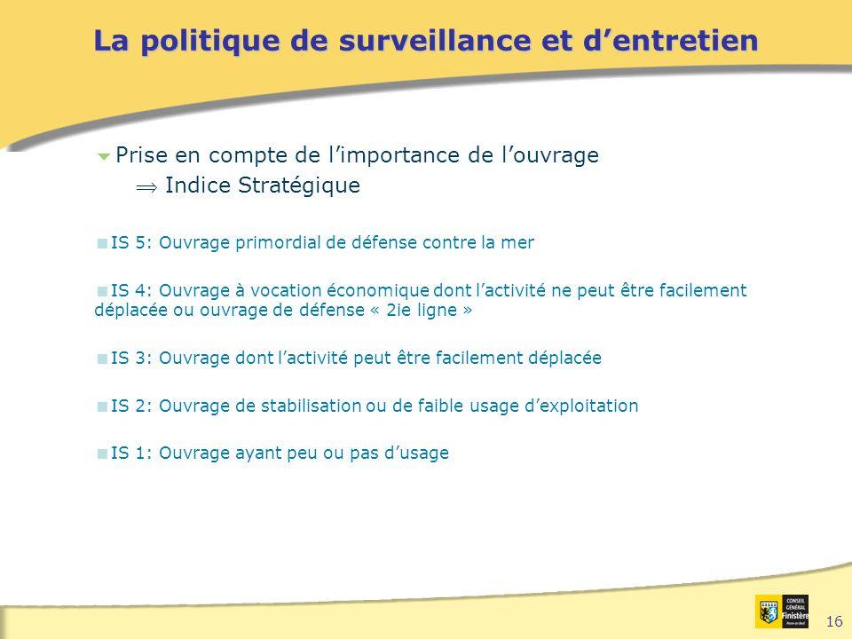 16 La politique de surveillance et d'entretien  Prise en compte de l'importance de l'ouvrage  Indice Stratégique  IS 5: Ouvrage primordial de défen