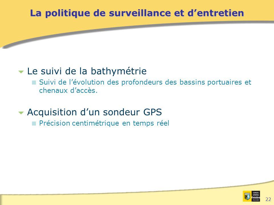22 La politique de surveillance et d'entretien  Le suivi de la bathymétrie  Suivi de l'évolution des profondeurs des bassins portuaires et chenaux d