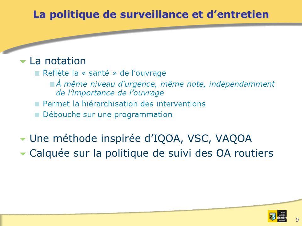 9 La politique de surveillance et d'entretien  La notation  Reflète la « santé » de l'ouvrage  À même niveau d'urgence, même note, indépendamment de l'importance de l'ouvrage  Permet la hiérarchisation des interventions  Débouche sur une programmation  Une méthode inspirée d'IQOA, VSC, VAQOA  Calquée sur la politique de suivi des OA routiers