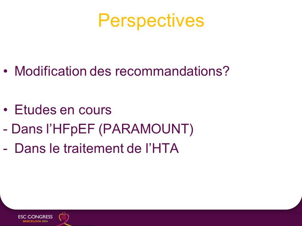 Perspectives Modification des recommandations? Etudes en cours - Dans l'HFpEF (PARAMOUNT) -Dans le traitement de l'HTA