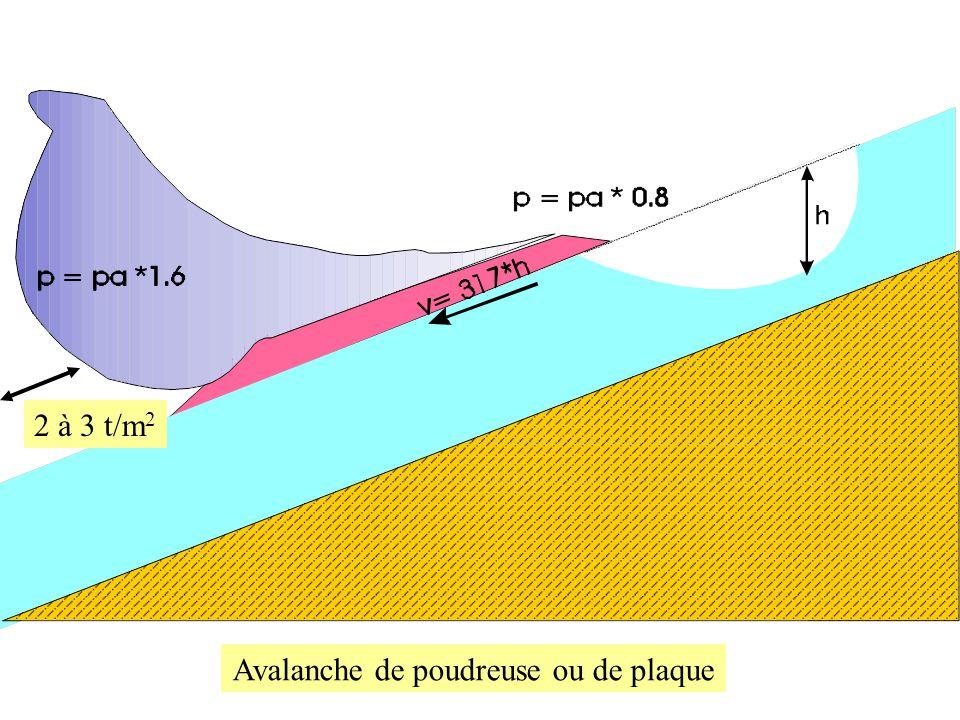 Avalanche de poudreuse ou de plaque 2 à 3 t/m 2