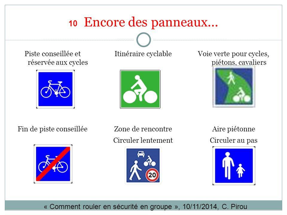 10 Encore des panneaux... Piste conseillée et réservée aux cycles Itinéraire cyclableVoie verte pour cycles, piétons, cavaliers Aire piétonne Circuler