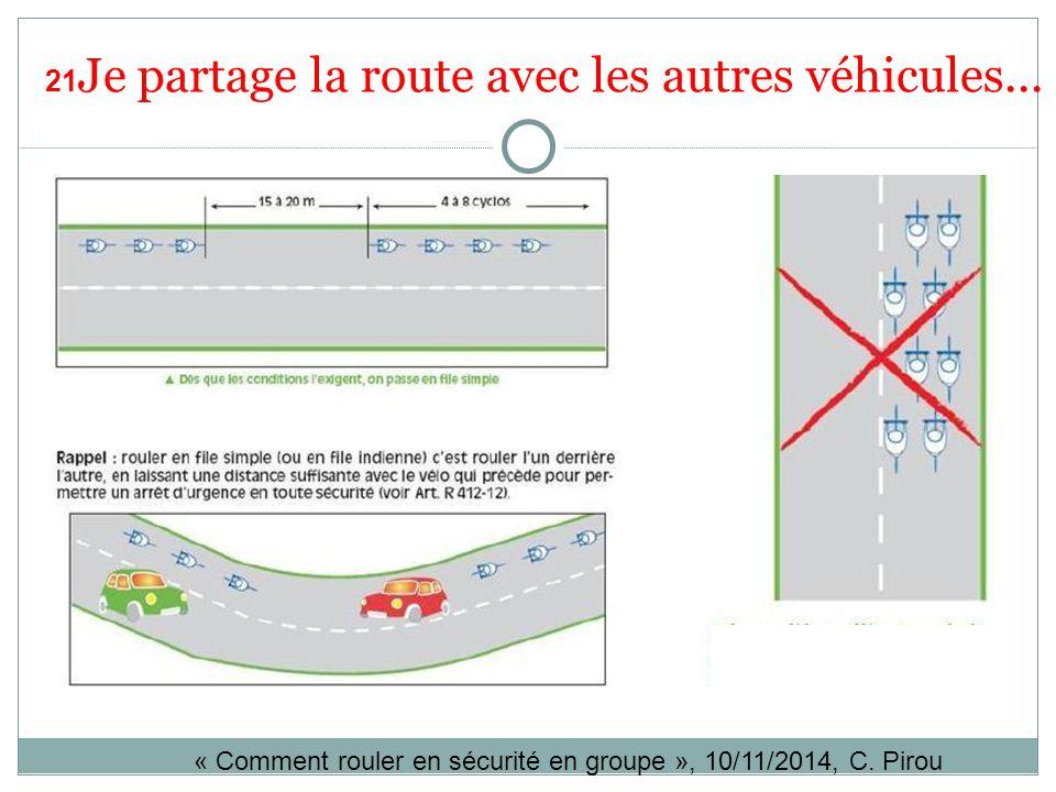 21 Je partage la route avec les autres véhicules... « Comment rouler en sécurité en groupe », 10/11/2014, C. Pirou