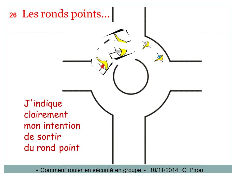 J'indique clairement mon intention de sortir du rond point « Comment rouler en sécurité en groupe », 10/11/2014, C. Pirou 26 Les ronds points...