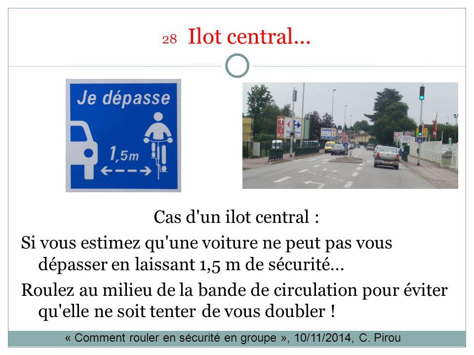 28 Ilot central... Cas d'un ilot central : Si vous estimez qu'une voiture ne peut pas vous dépasser en laissant 1,5 m de sécurité... Roulez au milieu