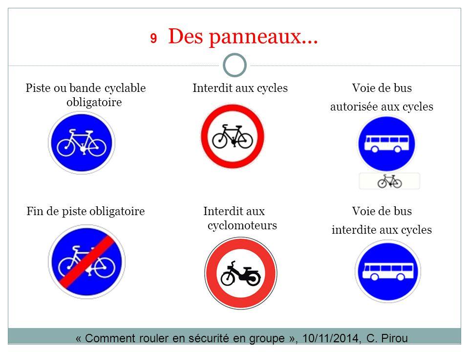 9 Des panneaux... Piste ou bande cyclable obligatoire Interdit aux cyclesVoie de bus autorisée aux cycles Voie de bus interdite aux cycles Interdit au