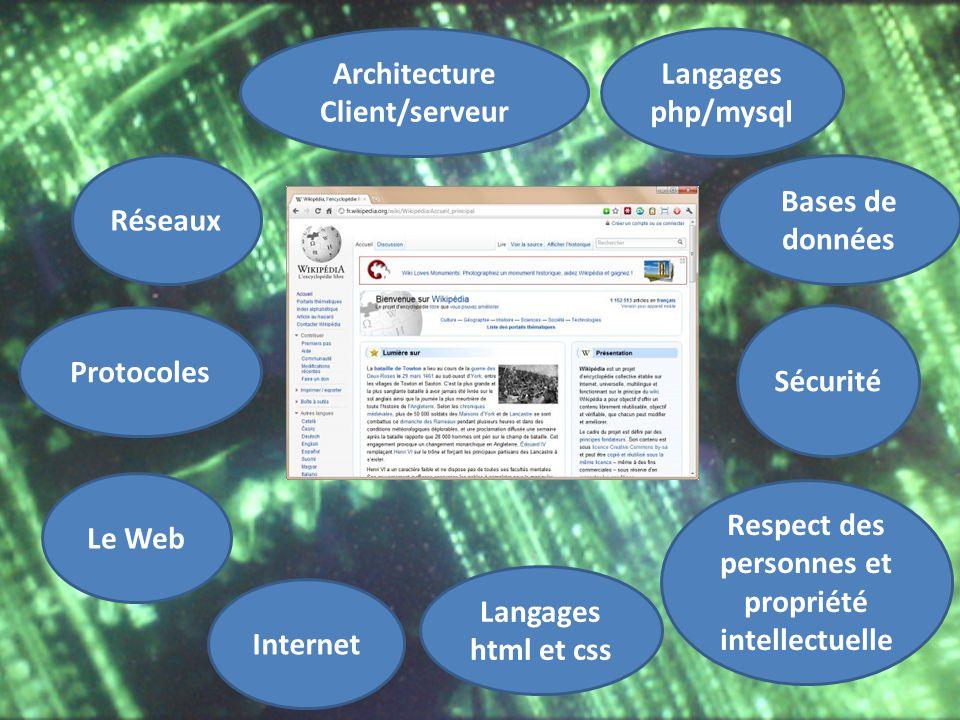Le Web Internet Réseaux Architecture Client/serveur Langages html et css Langages php/mysql Bases de données Respect des personnes et propriété intell