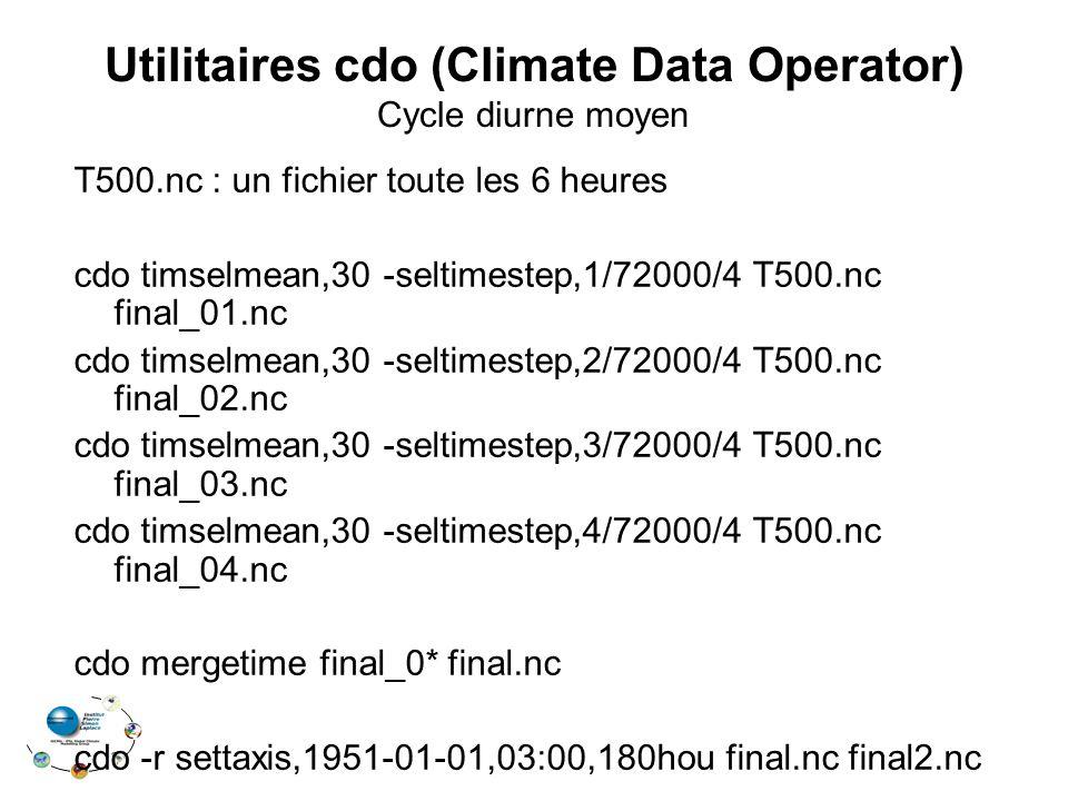 Utilitaires cdo (Climate Data Operator) Cycle diurne moyen T500.nc : un fichier toute les 6 heures cdo timselmean,30 -seltimestep,1/72000/4 T500.nc final_01.nc cdo timselmean,30 -seltimestep,2/72000/4 T500.nc final_02.nc cdo timselmean,30 -seltimestep,3/72000/4 T500.nc final_03.nc cdo timselmean,30 -seltimestep,4/72000/4 T500.nc final_04.nc cdo mergetime final_0* final.nc cdo -r settaxis,1951-01-01,03:00,180hou final.nc final2.nc