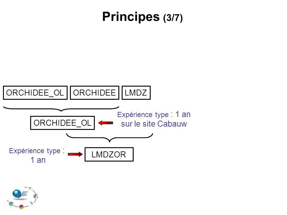 Principes (3/7) ORCHIDEE_OLORCHIDEELMDZ LMDZOR Expérience type : 1 an ORCHIDEE_OL Expérience type : 1 an sur le site Cabauw