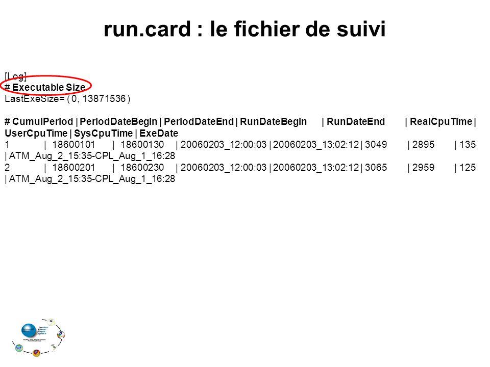 [Log] # Executable Size LastExeSize= ( 0, 13871536 ) # CumulPeriod   PeriodDateBegin   PeriodDateEnd   RunDateBegin   RunDateEnd   RealCpuTime   UserCpuTime   SysCpuTime   ExeDate 1   18600101   18600130   20060203_12:00:03   20060203_13:02:12   3049   2895   135   ATM_Aug_2_15:35-CPL_Aug_1_16:28 2   18600201   18600230   20060203_12:00:03   20060203_13:02:12   3065   2959   125   ATM_Aug_2_15:35-CPL_Aug_1_16:28 run.card : le fichier de suivi