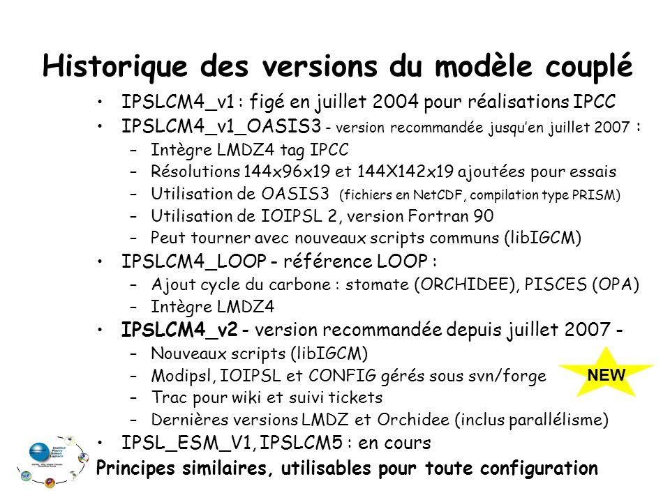 Historique des versions du modèle couplé IPSLCM4_v1 : figé en juillet 2004 pour réalisations IPCC IPSLCM4_v1_OASIS3 - version recommandée jusqu'en juillet 2007 : –Intègre LMDZ4 tag IPCC –Résolutions 144x96x19 et 144X142x19 ajoutées pour essais –Utilisation de OASIS3 (fichiers en NetCDF, compilation type PRISM) –Utilisation de IOIPSL 2, version Fortran 90 –Peut tourner avec nouveaux scripts communs (libIGCM) IPSLCM4_LOOP - référence LOOP : –Ajout cycle du carbone : stomate (ORCHIDEE), PISCES (OPA) –Intègre LMDZ4 IPSLCM4_v2 - version recommandée depuis juillet 2007 - –Nouveaux scripts (libIGCM) –Modipsl, IOIPSL et CONFIG gérés sous svn/forge –Trac pour wiki et suivi tickets –Dernières versions LMDZ et Orchidee (inclus parallélisme) IPSL_ESM_V1, IPSLCM5 : en cours Principes similaires, utilisables pour toute configuration NEW