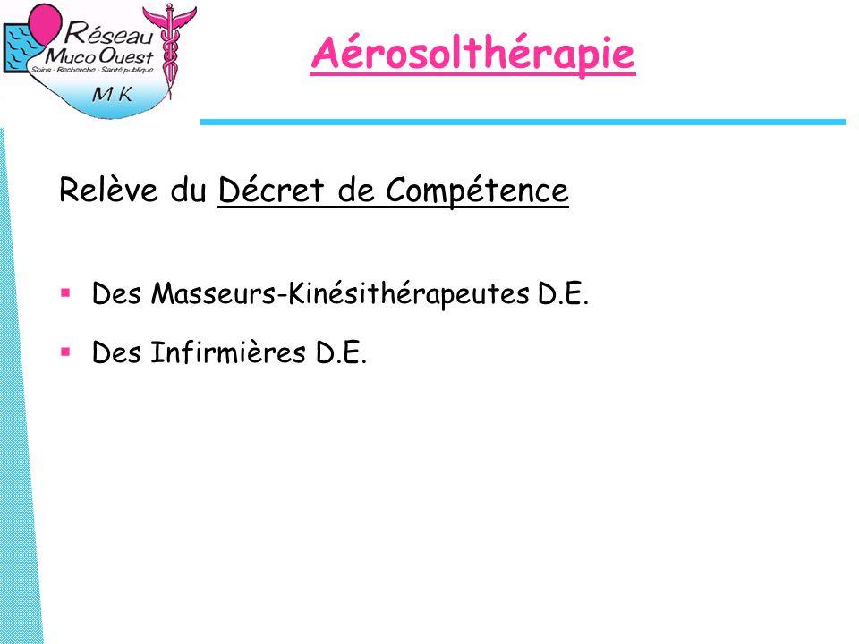 Aérosolthérapie Relève du Décret de Compétence  Des Masseurs-Kinésithérapeutes D.E.  Des Infirmières D.E.