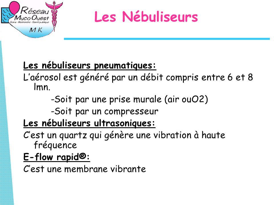 Les Nébuliseurs Les nébuliseurs pneumatiques: L'aérosol est généré par un débit compris entre 6 et 8 lmn. -Soit par une prise murale (air ouO2) -Soit