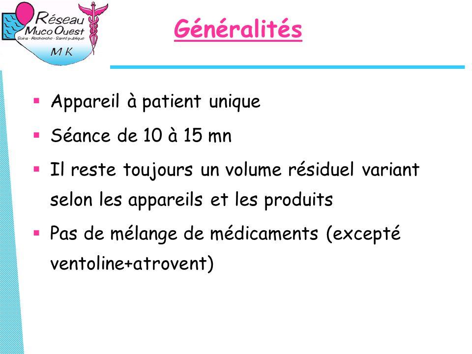 Généralités  Appareil à patient unique  Séance de 10 à 15 mn  Il reste toujours un volume résiduel variant selon les appareils et les produits  Pas de mélange de médicaments (excepté ventoline+atrovent)