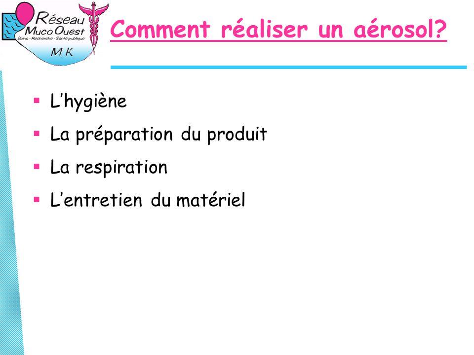 Comment réaliser un aérosol?  L'hygiène  La préparation du produit  La respiration  L'entretien du matériel