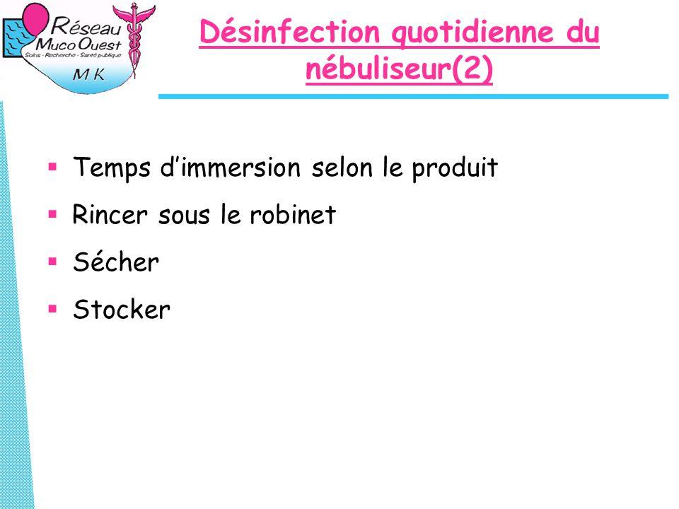 Désinfection quotidienne du nébuliseur(2)  Temps d'immersion selon le produit  Rincer sous le robinet  Sécher  Stocker