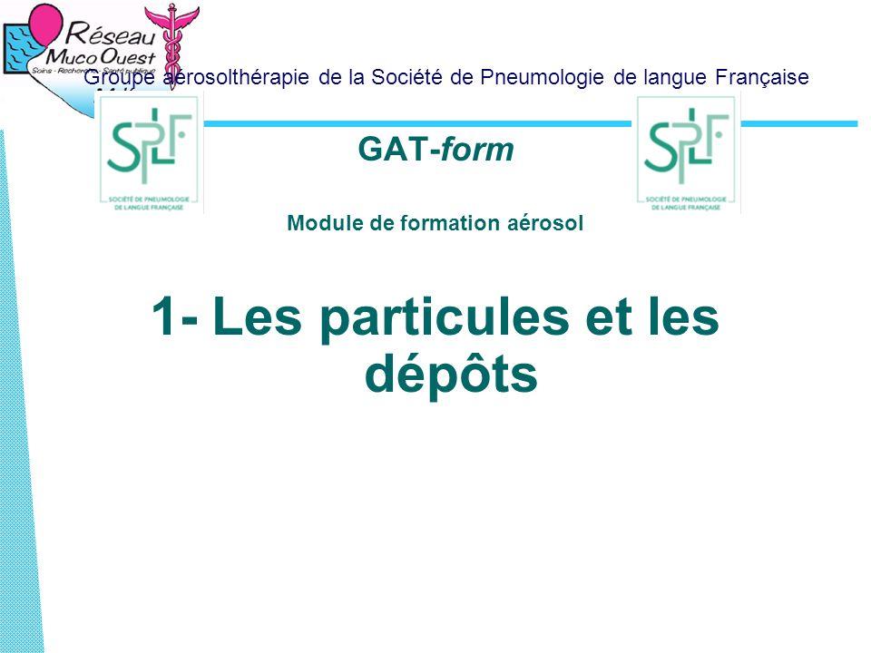 Groupe aérosolthérapie de la Société de Pneumologie de langue Française GAT-form Module de formation aérosol 1- Les particules et les dépôts