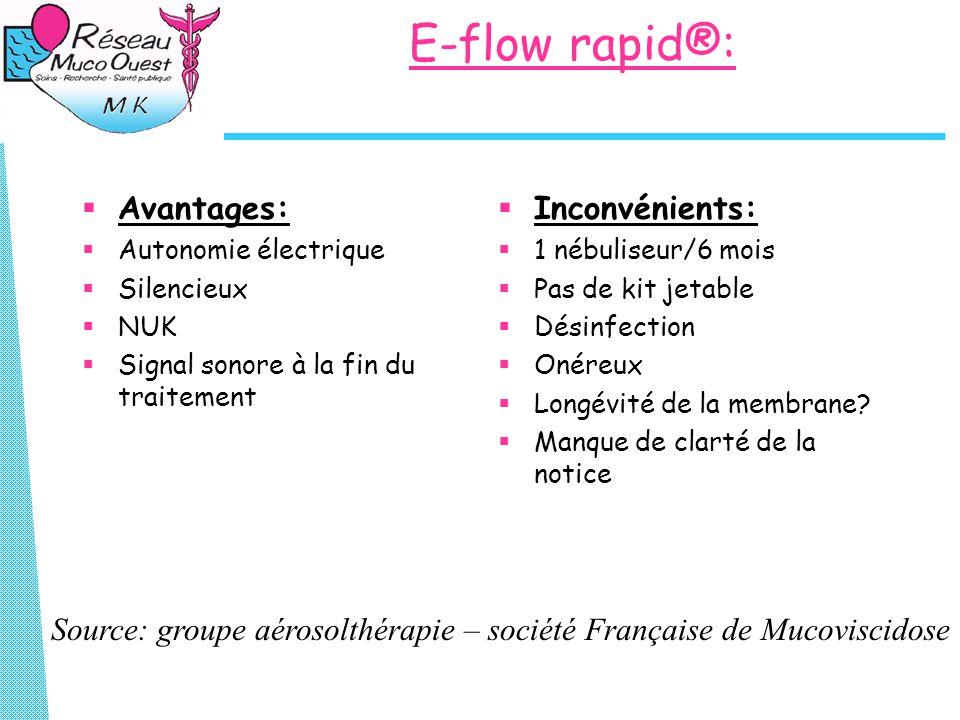 E-flow rapid®:  Avantages:  Autonomie électrique  Silencieux  NUK  Signal sonore à la fin du traitement  Inconvénients:  1 nébuliseur/6 mois  Pas de kit jetable  Désinfection  Onéreux  Longévité de la membrane.