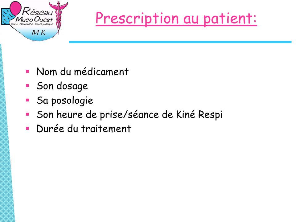 Prescription au patient:  Nom du médicament  Son dosage  Sa posologie  Son heure de prise/séance de Kiné Respi  Durée du traitement