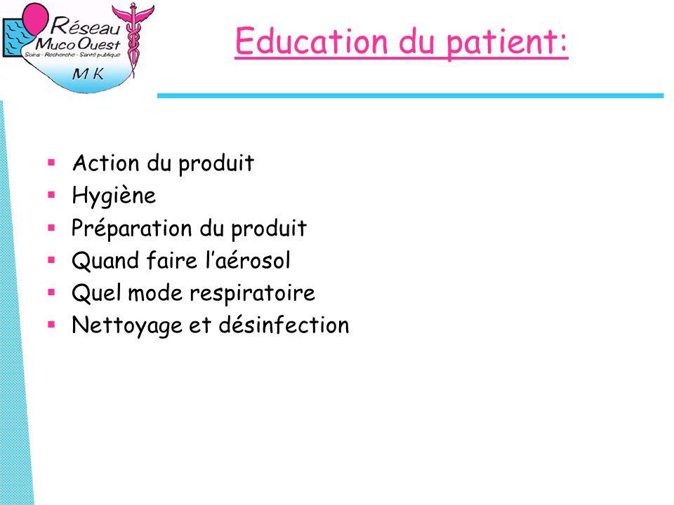Education du patient:  Action du produit  Hygiène  Préparation du produit  Quand faire l'aérosol  Quel mode respiratoire  Nettoyage et désinfect