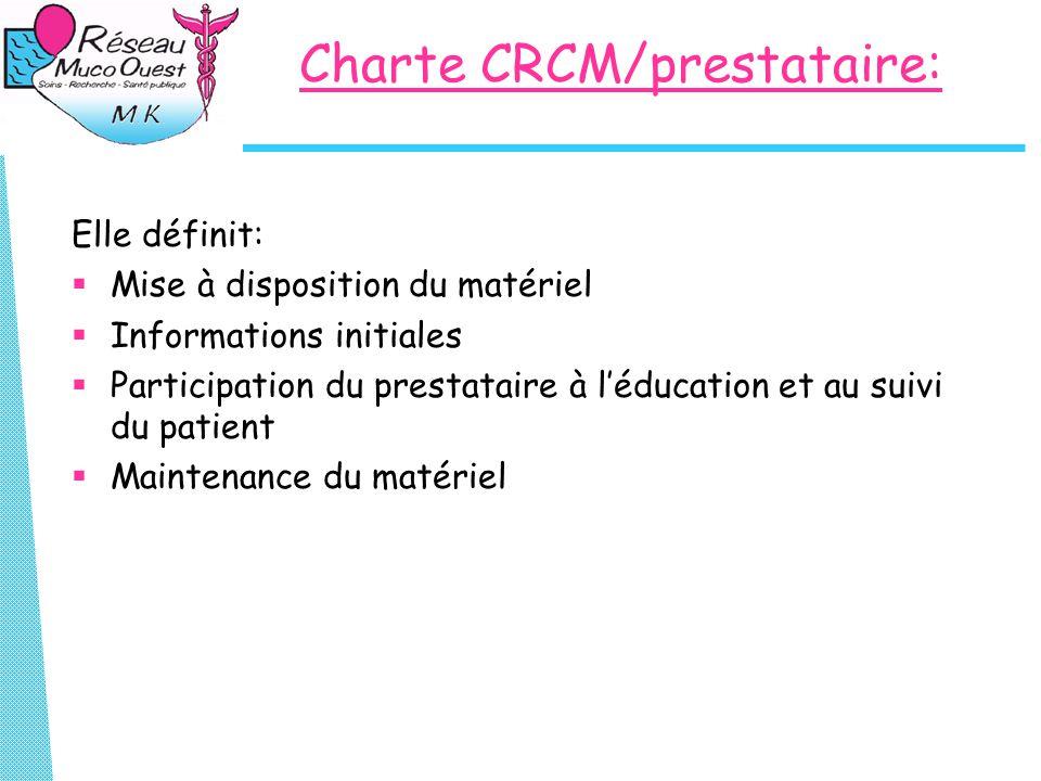 Charte CRCM/prestataire: Elle définit:  Mise à disposition du matériel  Informations initiales  Participation du prestataire à l'éducation et au suivi du patient  Maintenance du matériel