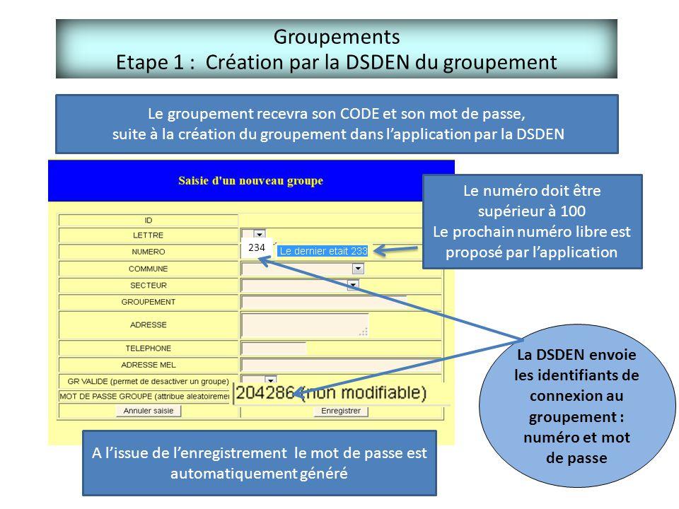 Groupements Etape 1 : Création par la DSDEN du groupement Le groupement recevra son CODE et son mot de passe, suite à la création du groupement dans l