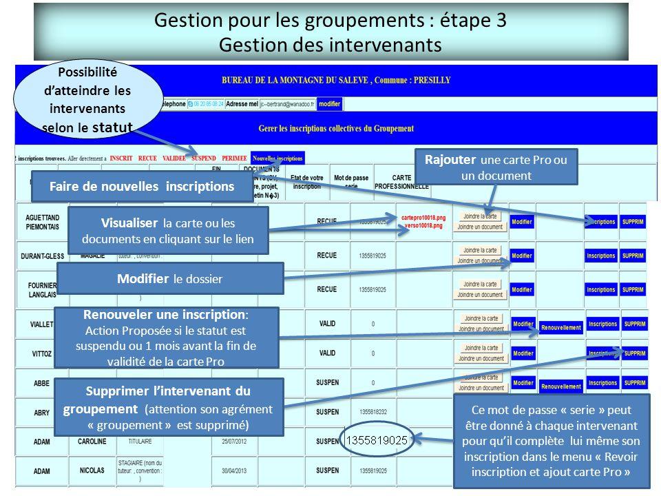 Gestion pour les groupements : étape 3 Gestion des intervenants Possibilité d'atteindre les intervenants selon le statut Visualiser la carte ou les do
