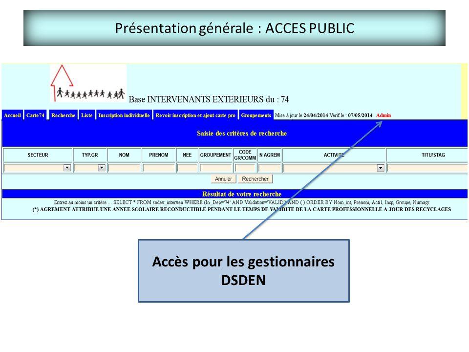 Présentation générale : ACCES PUBLIC Accès pour les gestionnaires DSDEN