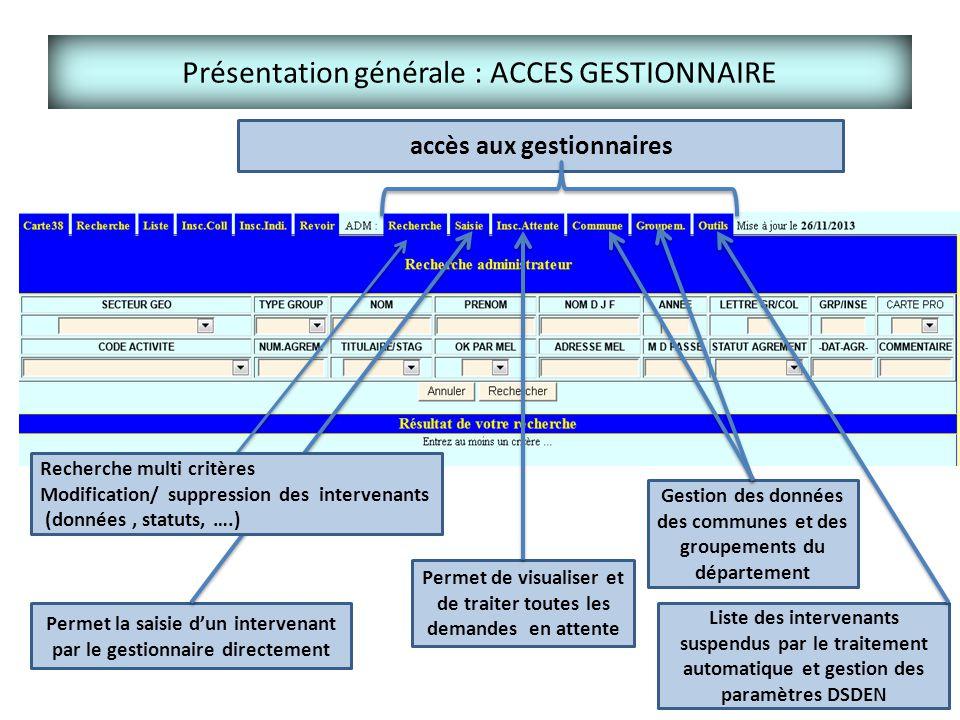 Présentation générale : ACCES GESTIONNAIRE Gestion des données des communes et des groupements du département Permet la saisie d'un intervenant par le