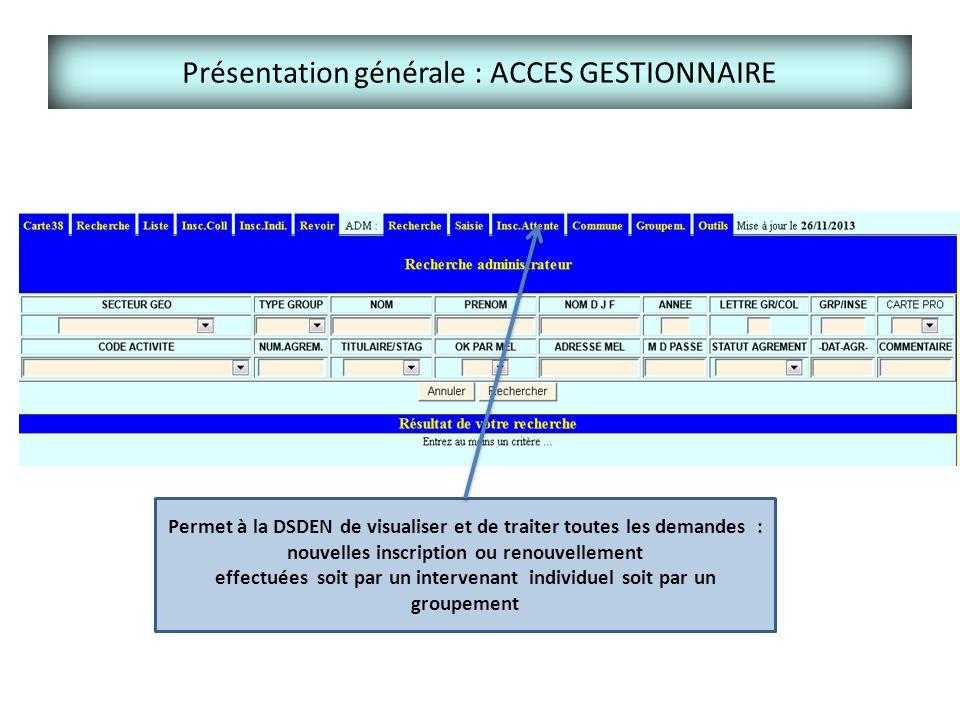 Présentation générale : ACCES GESTIONNAIRE Permet à la DSDEN de visualiser et de traiter toutes les demandes : nouvelles inscription ou renouvellement