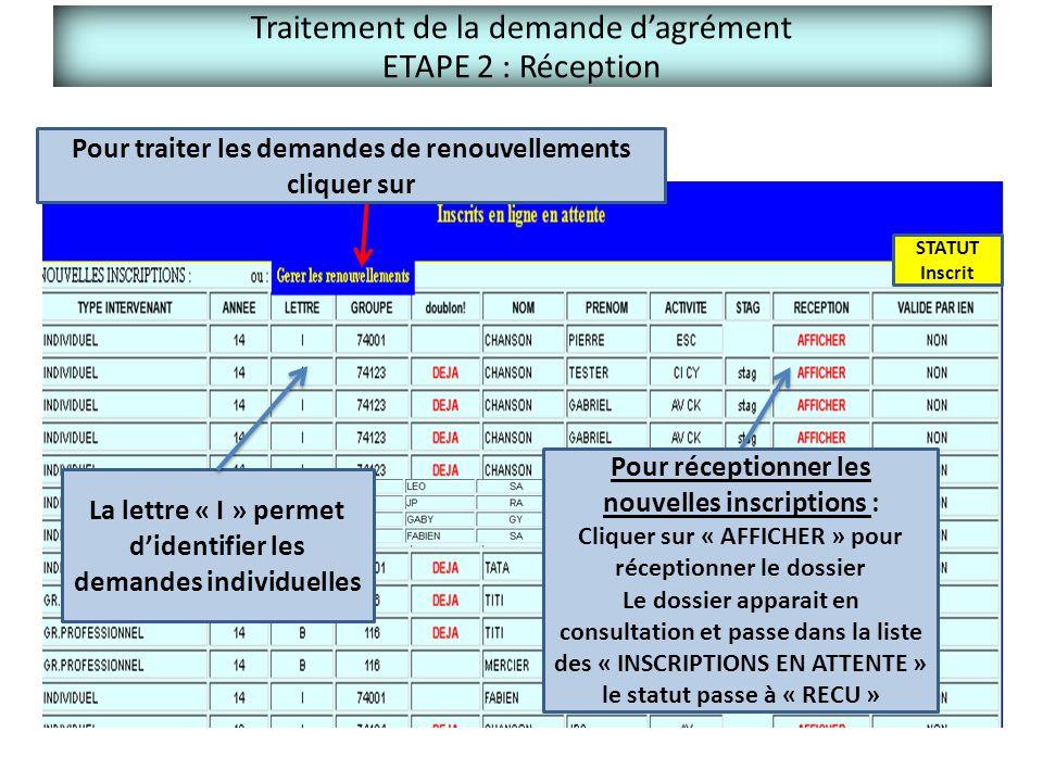 Traitement de la demande d'agrément ETAPE 2 : Réception FAVORABLE STATUT Inscrit Pour réceptionner les nouvelles inscriptions : Cliquer sur « AFFICHER