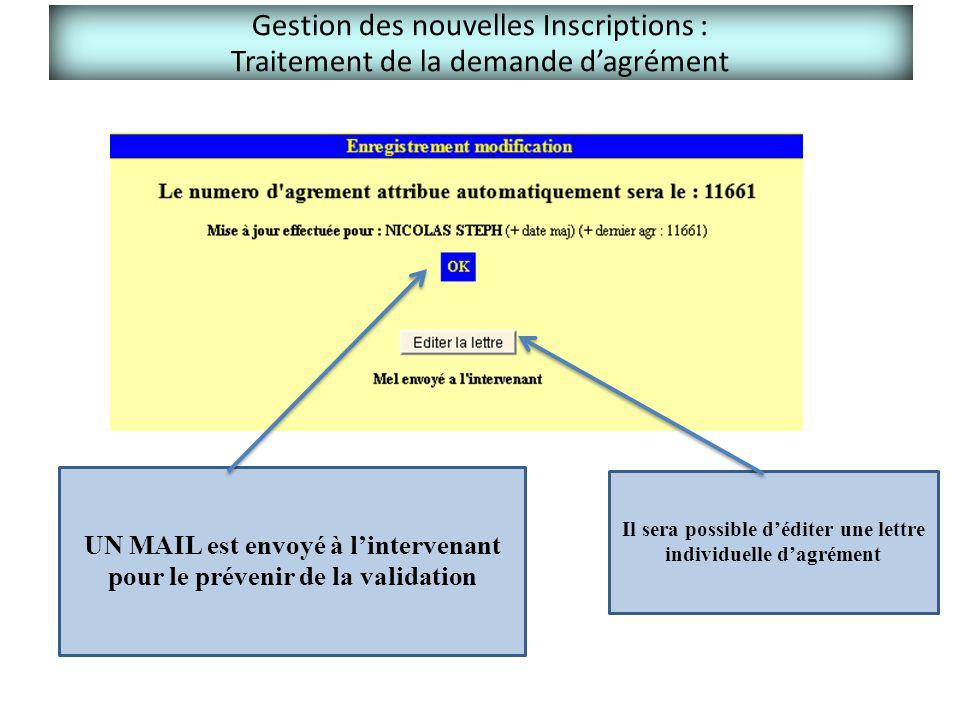 Gestion des nouvelles Inscriptions : Traitement de la demande d'agrément UN MAIL est envoyé à l'intervenant pour le prévenir de la validation Il sera