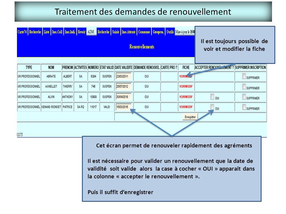Traitement des demandes de renouvellement Cet écran permet de renouveler rapidement des agréments Il est nécessaire pour valider un renouvellement que