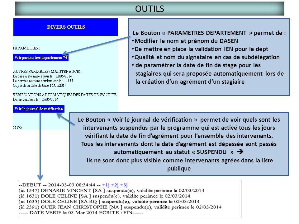 OUTILS Le Bouton « Voir le journal de vérification » permet de voir quels sont les intervenants suspendus par le programme qui est activé tous les jou