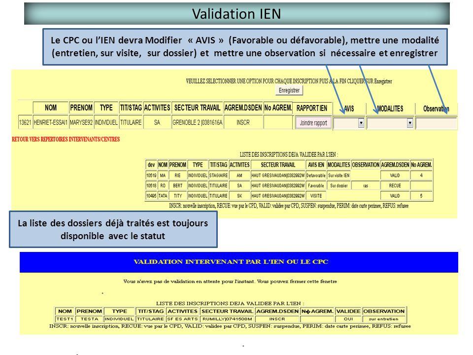 Validation IEN Le CPC ou l'IEN devra Modifier « AVIS » (Favorable ou défavorable), mettre une modalité (entretien, sur visite, sur dossier) et mettre