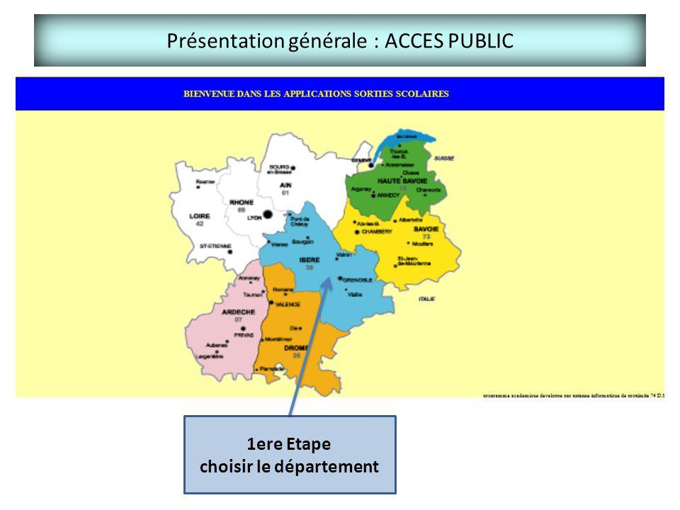 Présentation générale : ACCES PUBLIC 1ere Etape choisir le département