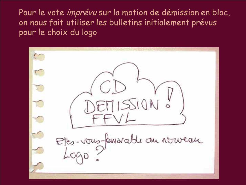 Pour le vote imprévu sur la motion de démission en bloc, on nous fait utiliser les bulletins initialement prévus pour le choix du logo