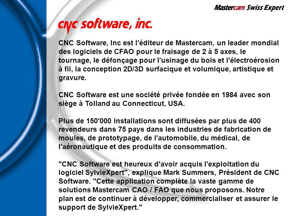 CNC Software, Inc est l'éditeur de Mastercam, un leader mondial des logiciels de CFAO pour le fraisage de 2 à 5 axes, le tournage, le défonçage pour l