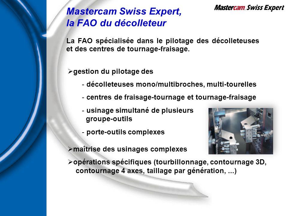 Mastercam Swiss Expert, la FAO du décolleteur  gestion du pilotage des - décolleteuses mono/multibroches, multi-tourelles - centres de fraisage-tourn