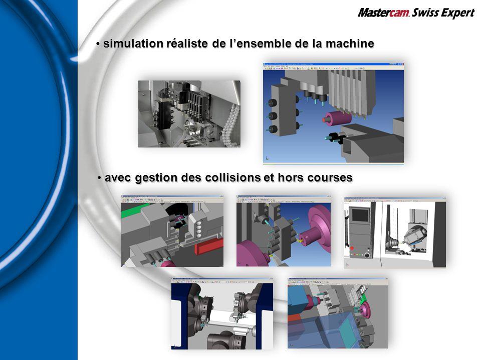 simulation réaliste de l'ensemble de la machine simulation réaliste de l'ensemble de la machine avec gestion des collisions et hors courses avec gesti