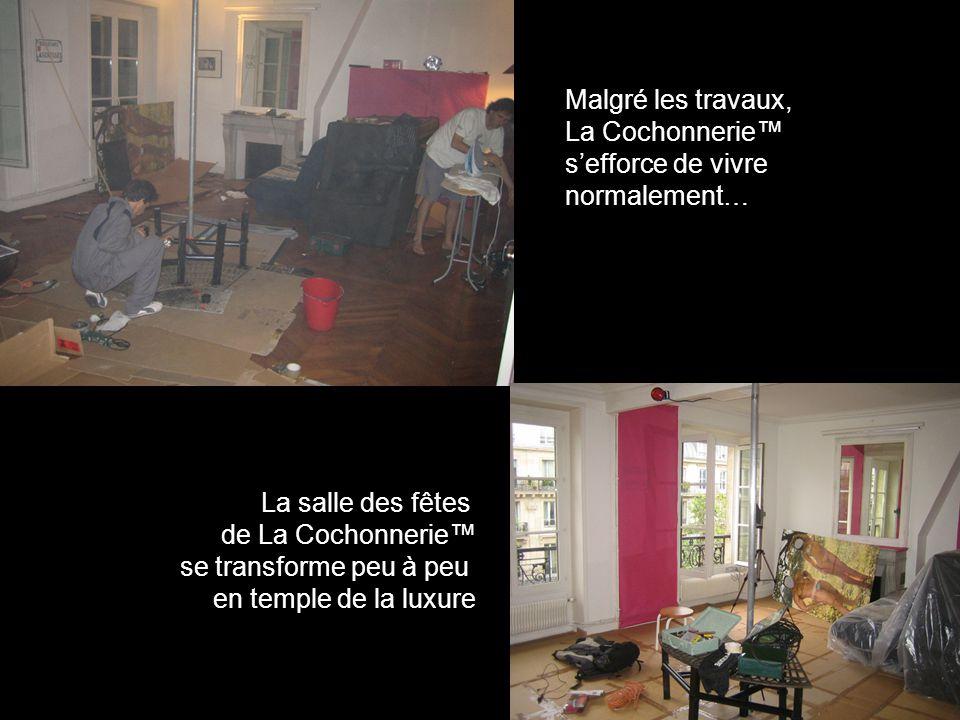 Malgré les travaux, La Cochonnerie™ s'efforce de vivre normalement… La salle des fêtes de La Cochonnerie™ se transforme peu à peu en temple de la luxure