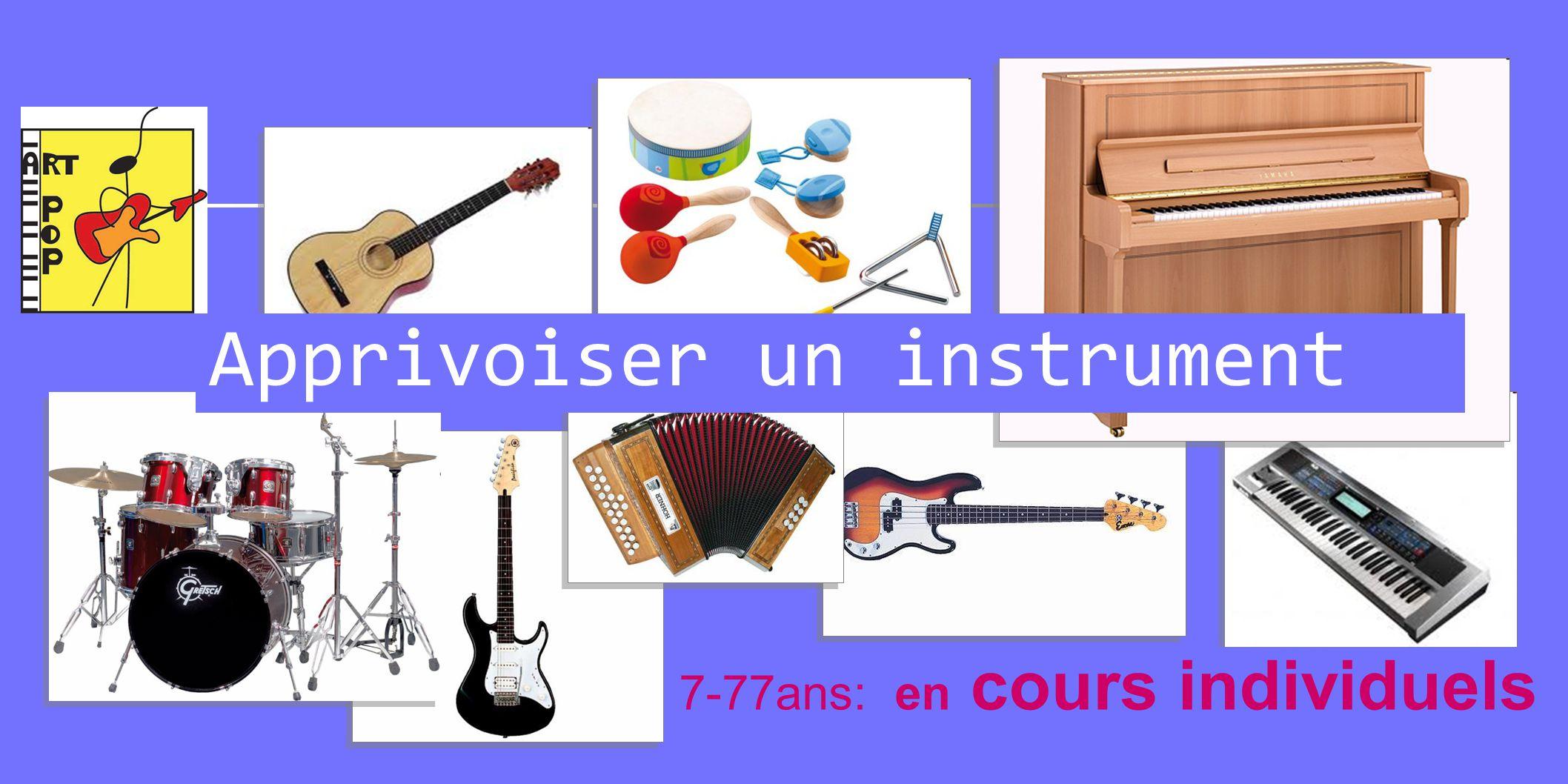 Apprivoiser un instrument 7-77ans: en cours individuels